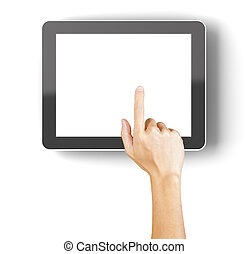 Hand clicking a generic 3d rendered tablet with copyspace -...