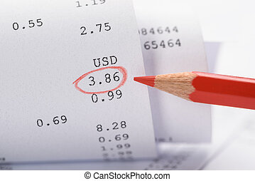 Rolled-up Receipt With Red Marking - Close-up Of Generic...