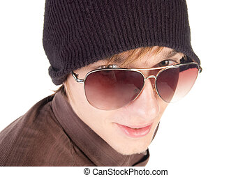 young guy in sunglasses Isolated over white