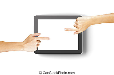 Hands clicking a generic 3d rendered tablet with copyspace -...
