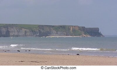 Cliffs at Arromanches, D-Day Gold Beach, Omaha Beach, code...