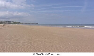 Arromanches, D-Day Gold Beach + pan bay with Mulberry...