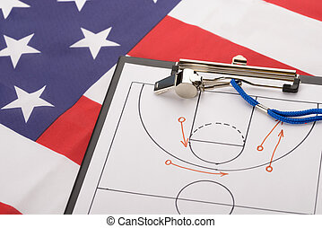 Basketball Tactics On A Sheet Of Paper And Whistle On...