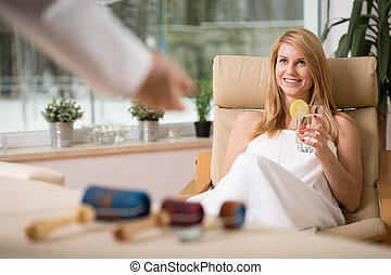 Girl in spa room - Beautiful young girl relaxing in spa room