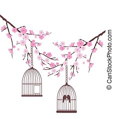 Birds - vector cherry blossom with birds in a cage