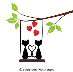Cats Swinging - vector cats, swing, tree branch