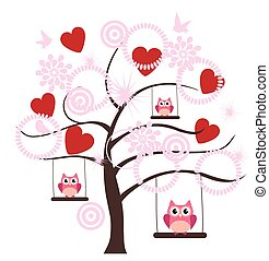 Valentine Tree - vector tree with hearts, owls swinging