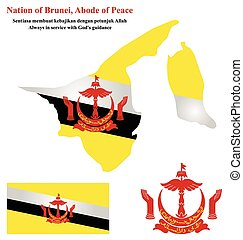 Brunei Flag - Flag and national emblem of the Nation of...