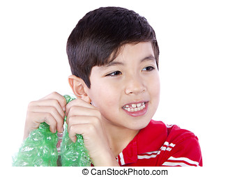 The sound of bubble wrap - A young boy cant resist the...