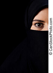 Muslim with big eyes - Vertical portrait of muslim with big...