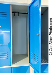 Open Lockers In The Room - Photo Blue Open Lockers In The...