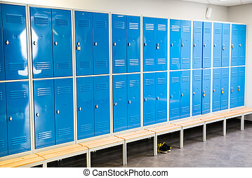 Lockers In The Room - Photo Of Blue Lockers In The Room