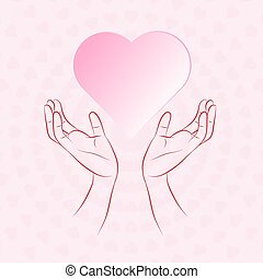 Hand protecting heart that floating on small pink heart...