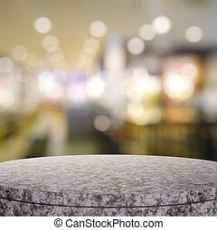 Empty granite round table and blurred background f