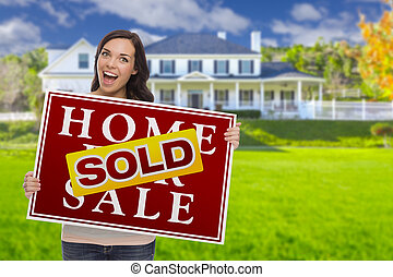 Mixed Race Female with Sold Sign In Front of House - Excited...