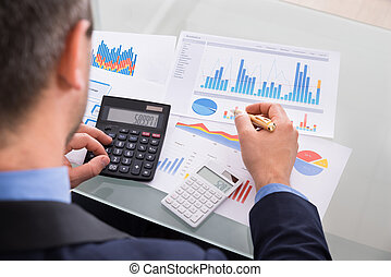 Businessman Calculating Finance - Close-up Of Businessman...