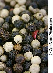 Pepper Corns - A close up shot of mixed pepper corns mixed...