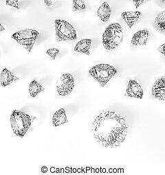 diamantes, 3D, en, composición, como, concept, ,