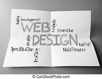hand drawn web design diagram on crumpled paper background...