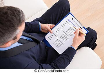 cliente, hombre de negocios, relleno, Encuesta, forma