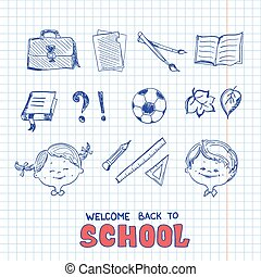 School objects, sketch style. Eps 8 Vector illustration