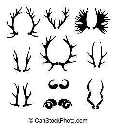 Set horns silhouettes for design. Vector illustration.