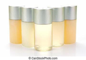 Shampoo Bottles - Miniatureshampoo bottles isolated against...