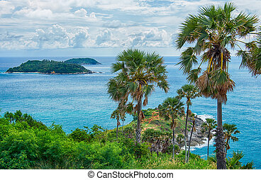 Promthep Cape on Phuket island - Andaman sea near Promthep...