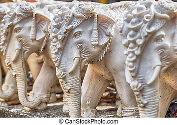 Stone elephants Promthep Cape on Phuket island - Marble...