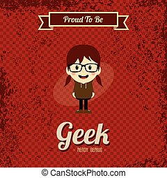 geek retro cartoon art - vector graphic art illustration