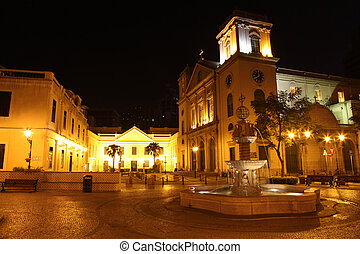 One of Macau\'s many squares and churches by night