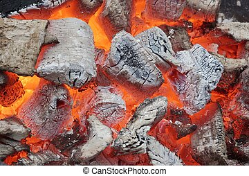 Glowing Coals in BBQ Pit. Background or Texture for text or...