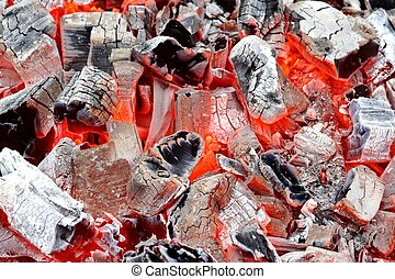Coals in Barbeque Pit. Background or Texture for text or...