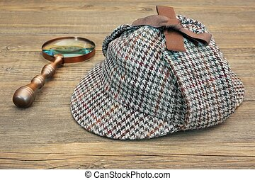 Deerstalker Hat and Retro Magnifying Glass - Sherlock Holmes...