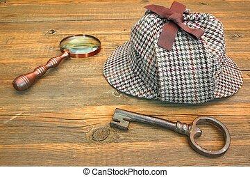 Sherlock Holmes Cap famous as Deerstalker, Old Key and...