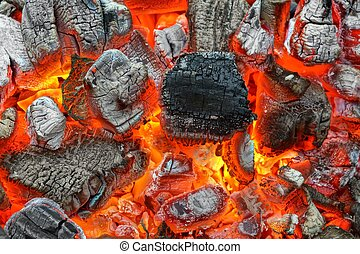Hot Charcoal with Bright Flames in BBQ Pit