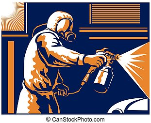 car-spray-painter-working - Vector illustration of a spray...
