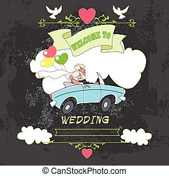 wedding invited - The groom and the bride in a cabriolet,...