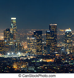 Los Angeles at night - Los Angeles downtown buildings at...