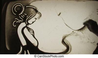 miss favorite, drawn by a finger on sand, Sand Painting