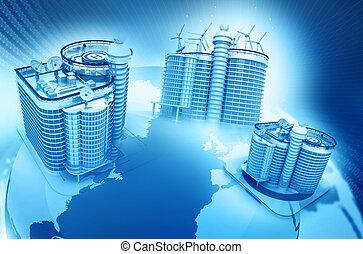Skyline  building on globe earth