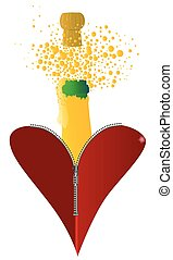 Love Champagne - A red heart with a zipper showing a bottle...