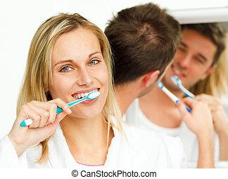 他們, 夫婦, 清掃, 牙齒