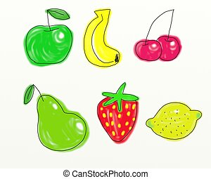 fruit - Digitally painted whimsical fruit collection...