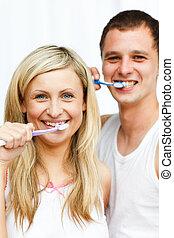 夫婦, 他們, 照像機, 清掃, 牙齒, 微笑