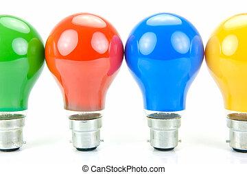 luz, coloreado, bombillas