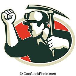 coal-miner-fist-side-pickax - Illustration of a coal miner...