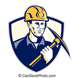 coal-miner-pickaxe-front-shield - Illustration of a coal...