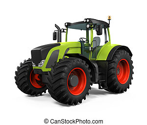 Green Tractor Isolated on white background. 3D render