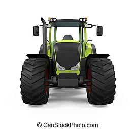 Green Tractor Isolated on white background 3D render